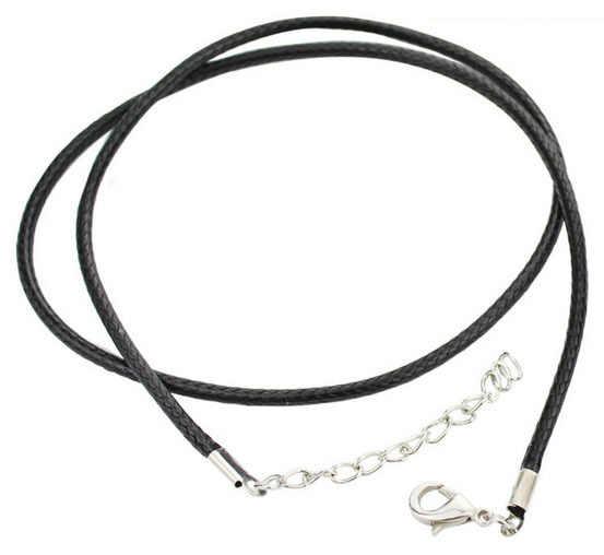 Pulseras de cordón de cuero negro de 4,0 MM y 2,0 MM con cierre de pinza de langosta y cadena de extensión para collar hecho a mano de 17 pulgadas
