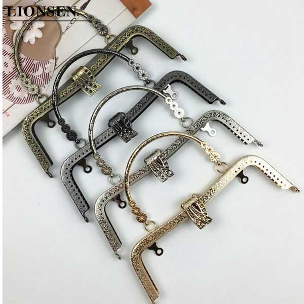 LIONSEN 20cm leaf Metal Purse Frame Handle Clutch Bag Accessories DIY Kiss Clasp Lock Bronze Embossing M-shaped HandBag Hardware
