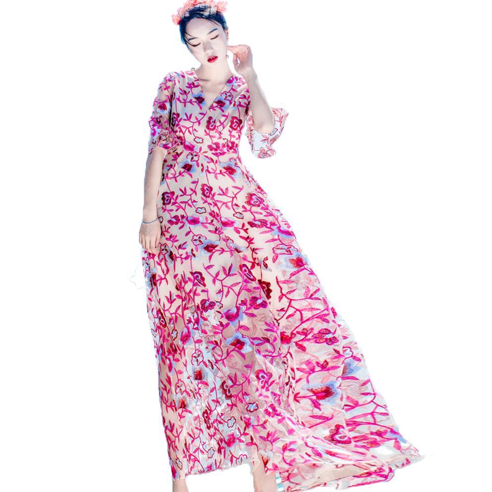 Online Get Cheap Largo De Color Rosa De Tul Vestido De Las Mujeres ...