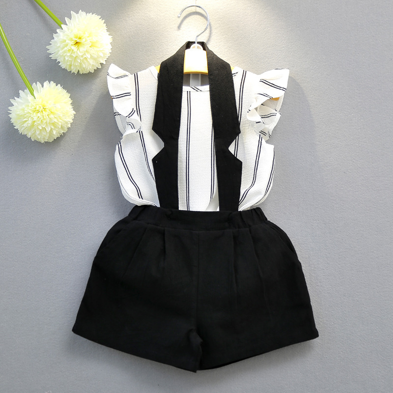 2018 Summer  Fashion girls clothing sets Casual white and black kids clothes brand Striped vest T-shirt + Halter Bib clothing