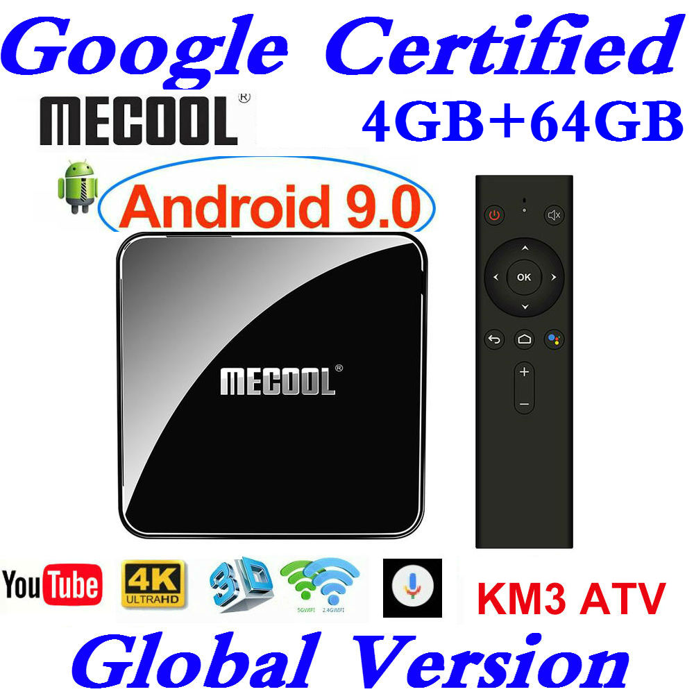 Google Certified Androidtv 9 0 MECOOL KM3 TV Box Android 9 0 4GB RAM 64GB 128GB
