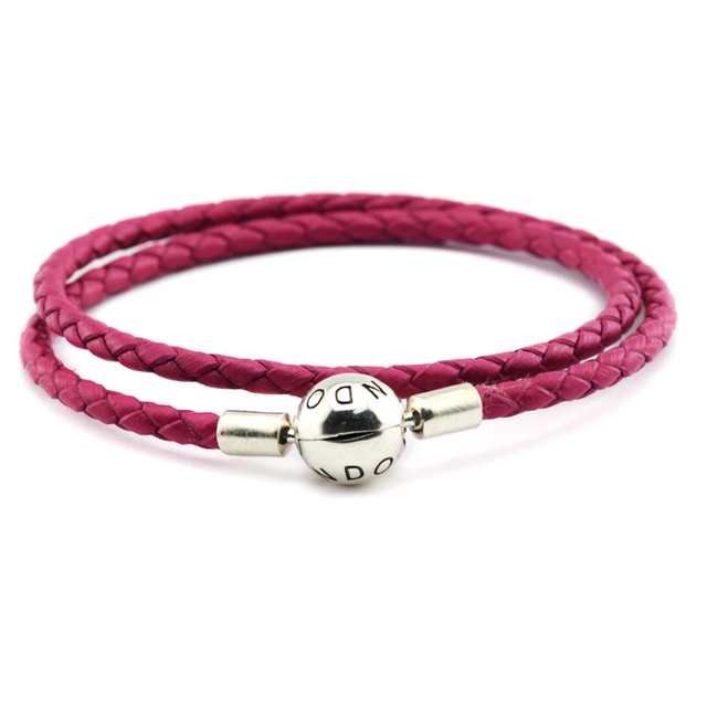 Authentic 925 Sterling Silver Jewelry Rose Leather Bracelets Free Shipping