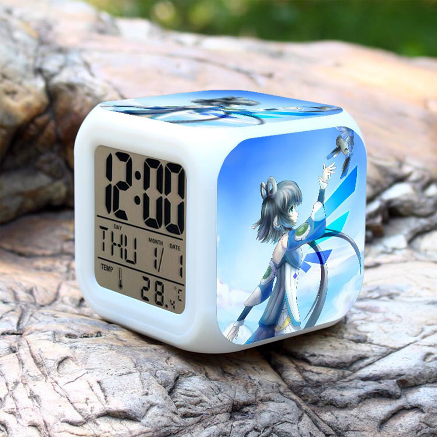 Anime Digital Alarm Clock Kids Room Decorative Electronic LED Clock with 7 Color Change Desk Watch Unique Gift for Children