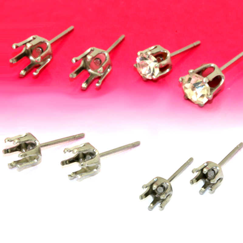 40pcs Stainless Steel Ear Stud 4mm-8mm Six Claw Earrings Setting Blank Base DIY Accessories Jewelry Findings No Fade