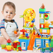 Купить с кэшбэком 80-230pcs Big Size Building Blocks Girl Boy Castle Park Slide Princess Block Kids baby Toys Compatible with Duplo Christmas Gift