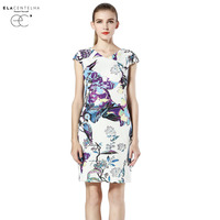 ELaCentelha Autumn Casual Women High End Top Quality Printing Flare A Line Dress Round Neck Short