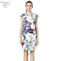 ELaCentelha Autumn Casual Women High End Top Quality Printing Flare A Line Dress Round Neck Short