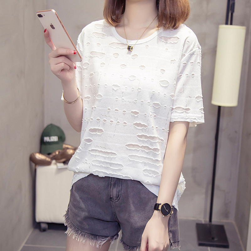 T-shirt Plus Size Women Tops Loose O-neck Hole Perspective Short Sleeve T-shirts Summer Casual Solid Color Women Shirts Simple 2
