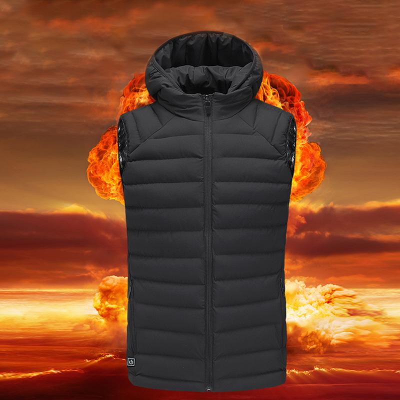 Outdoor Warm Electric Heated Clothing Riding Skiing Fishing USB Charging Electric Heated Vest Hooded Keep Warm Jacket new charging heated down vest man skiing vest winter warm down thick vest camping hiking keep body warm black s xxxl