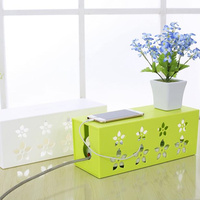 DIY plastic cable storage box desk organizer case cables box holder Safety Socket Outlet Board Container carved cord