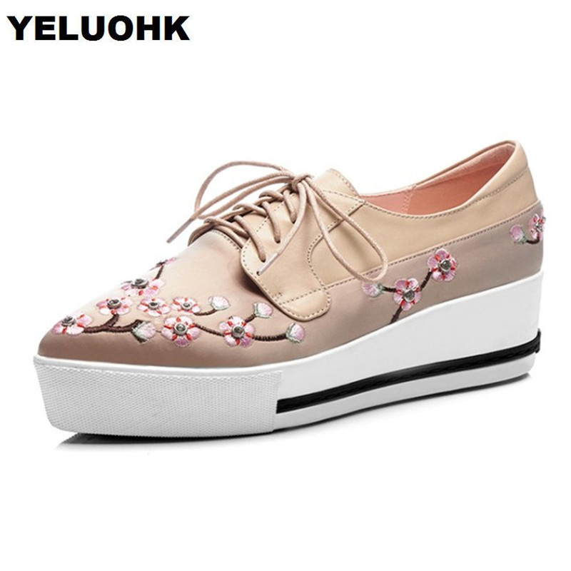 Fashion Embroider Shoes Women Flats Women Platform Shoes Spring 2018 Lace Up Female Shoes Oxford 2018 spring women flats shoe flowers embroidery shoes waterproof platform floral flats lace up casual white shoes female