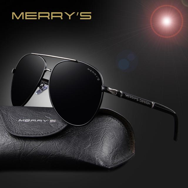 Merry's moda óculos de sol dos homens clássico marca hd alumínio quadro grande óculos de sol óculos polarizados para homens condução tons de luxo s'8728