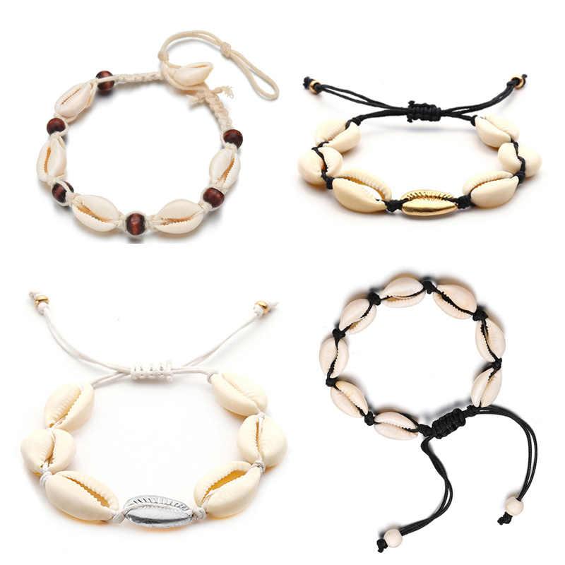 SMJEL ethnique naturel coquillage chevillières pour femmes chanceux coquillage cheville corde chaîne pied bijoux été plage bransoletka na noge