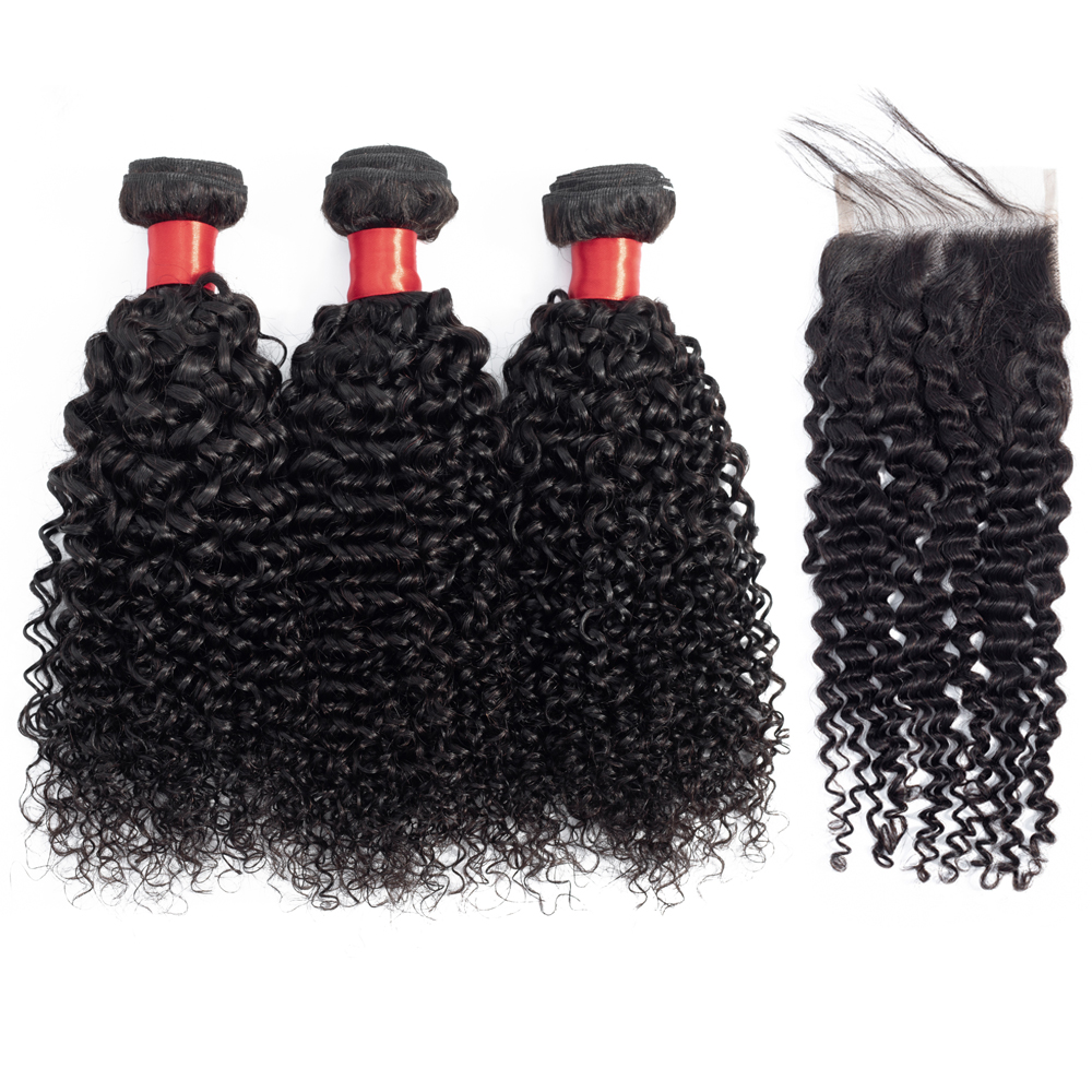 Mongolian Kinky Curly Hair With Closure Remy Human Hair 3 Bundles With Lace Closure 8 28