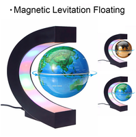 C Shape Magnetic Levitation Globe Floating World Map Tellurion LED Light Terrestrial Children Educatioanl Toys Home Office Decor