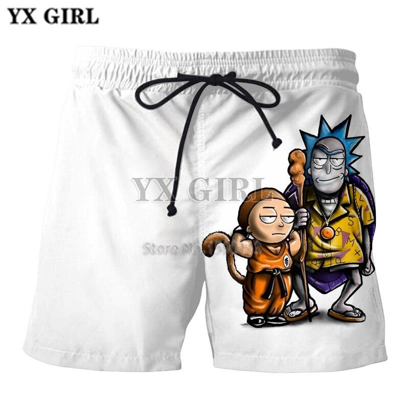 Casual Shorts Yx Girl Casual Unisex Rick And Morty Mens Summer Casual Shorts Cartoon 3d Print Loose Shorts
