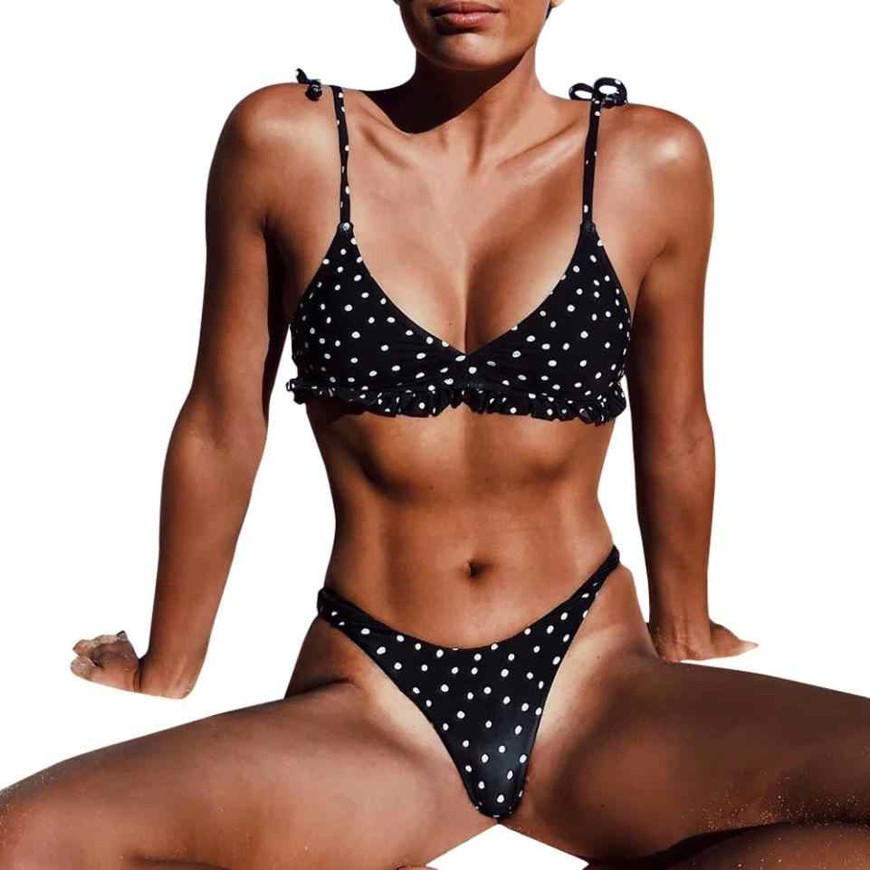 2018 nouveau sexy bikini femme femmes Sexy point imprimé volants Bikini push-up rembourré maillots de bain maillot de bain maillots de bain kostium kpielowy