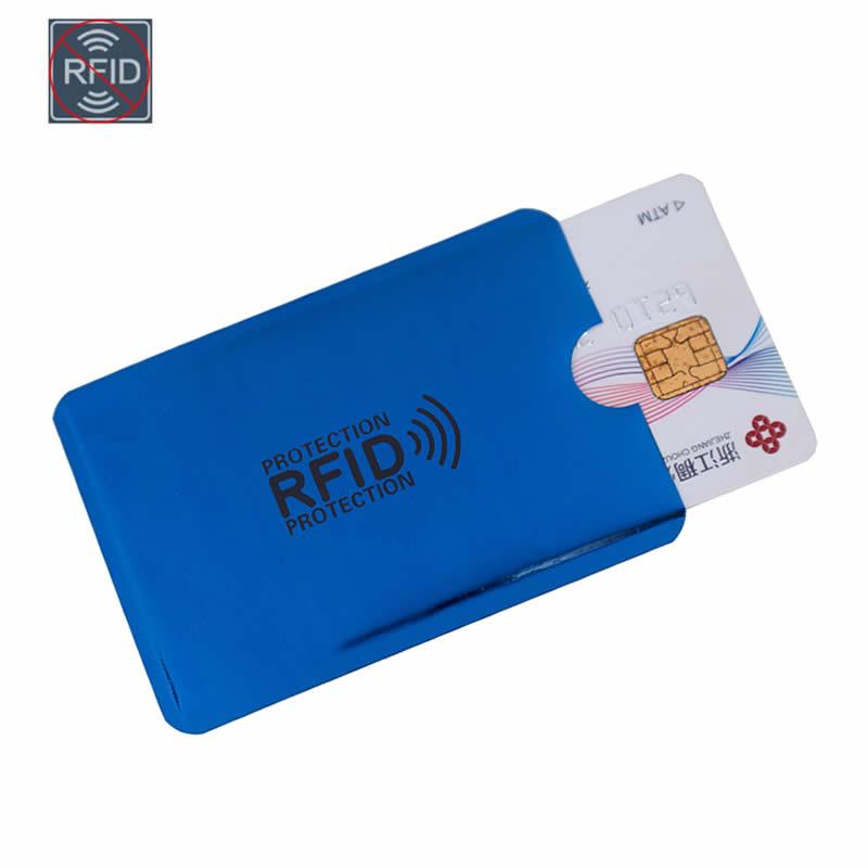 Blue Laser Aluminium Anti Rfid Wallet Blocking Reader Lock Bank Card Holder ID Bank Card Case Business Protection Metal Credit