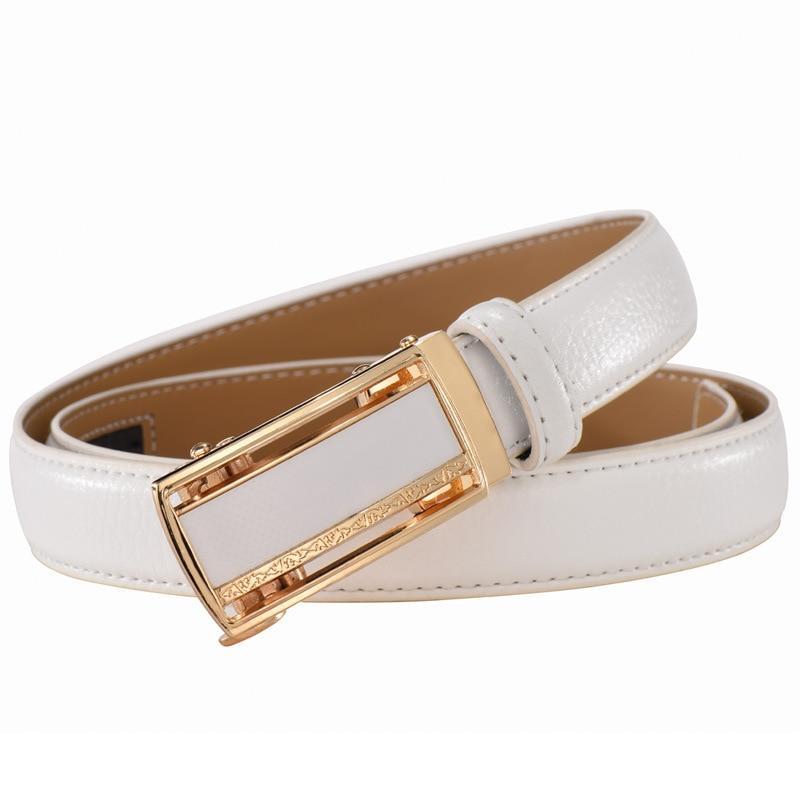 2019 fashion genuine leather   belts   for women soild automatic buckle waist   belt   for jeans pants red white pasek damski niebieski