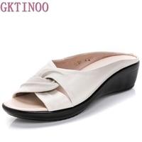 Leather Wedges Sandals Summer Comfort Mother Shoes Woman Flip Flops Slip On Flats Size 35 43
