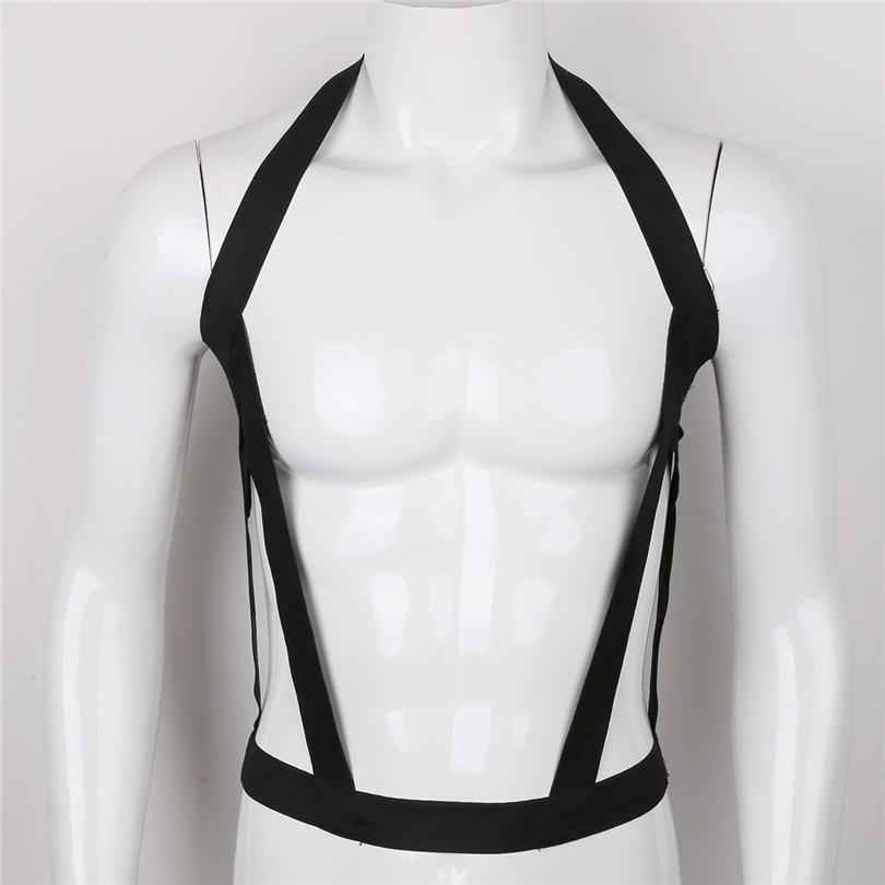 New Arrival Black Men Lingerie Nylon Halter Elastic Body Chest Harness Cosplay Costume Belt Nightclub Nightwear Sexy Clothes