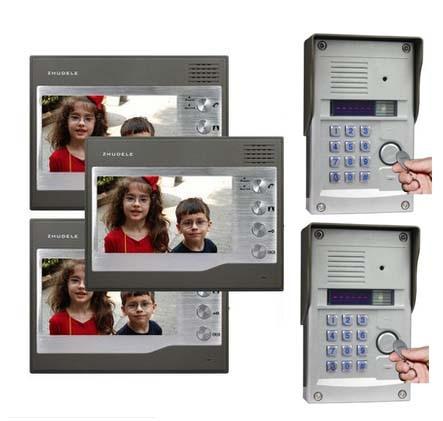 ZHUDELE Intercom System For 2 Doors Kits 3X7Video Door Phone+2XHD FRID Panel Camera w/t Password&ID Card Unlocking Function