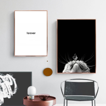 Black And White Posters Prints Nordic Minimalist Painting Quotes Wall Canvas Cat Picture Art Pictures Unframed