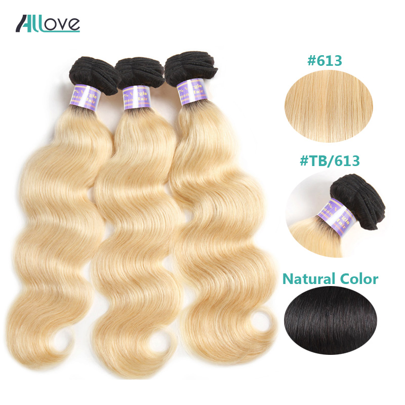 Allove Ombre Blonde Peruvian Hair Bundles 613 Body Wave Human Hair Weave 1B Natural Color Remy Hair Extensions 26 28 30inch