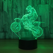 Lampa 3D Motocross 7-Kolorów LED USB