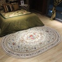 WINLIFE American Pastoral Oval Rugs And Carpets For Home Living Room Countryside Home Bedroom Area Rugs Coffee Table Floor Mat