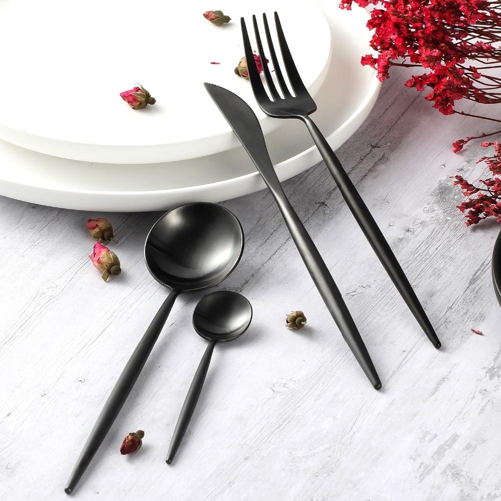 Black Dinner Set Wedding Golden Travel Cutlery Set Stainless Steel Dinner Knife Fork Scoops Silverware Set Gifts fonksiyonlu rende