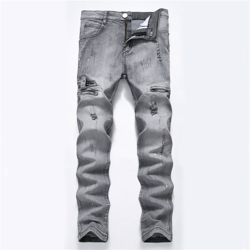 DANT BULUN 2018 Newest Fashion Mens Jeans Ripped Destroyed Zipper Slim Straight Biker Skinny Men Denim Multi Color Trousers