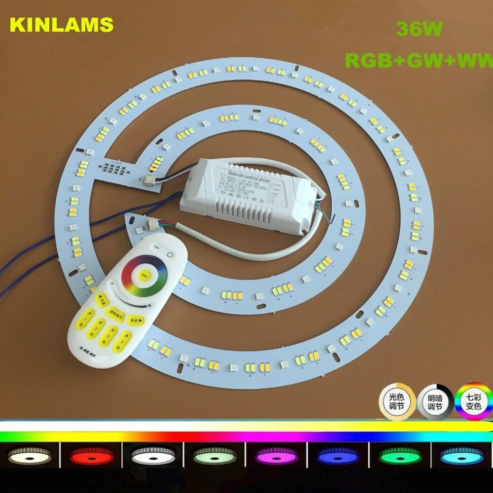 LED 2.4G télécommande pilote 36W rond en aluminium plaque LED plafonnier panneau LED panneau circulaire Tube lumières CW WWRGB