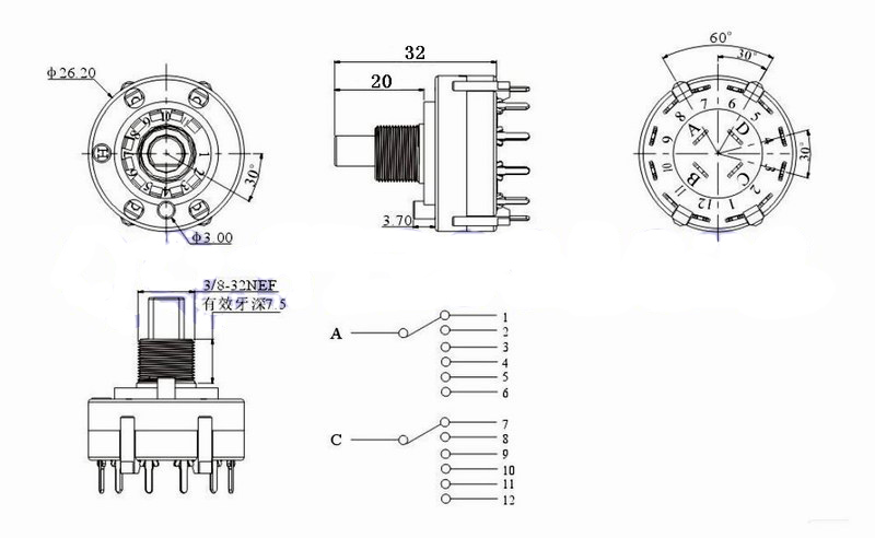 10PCS 2 Pole 6 Position PANEL PCB Wiring ROTARY SWITCH 2P6T 1 6 position Variable diagrams 586560 rotary switch wiring schematic rotary switch 10 position rotary switch wiring diagram at webbmarketing.co