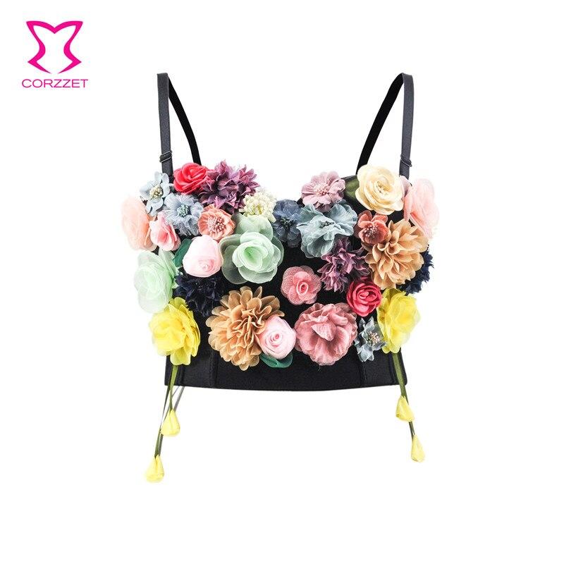 Party Club Cute Colorful Floral Applique Soutien Gorge Sexy Push Up Bra Bustier Crop Top Bralette Brassiere Femme Bras For Women