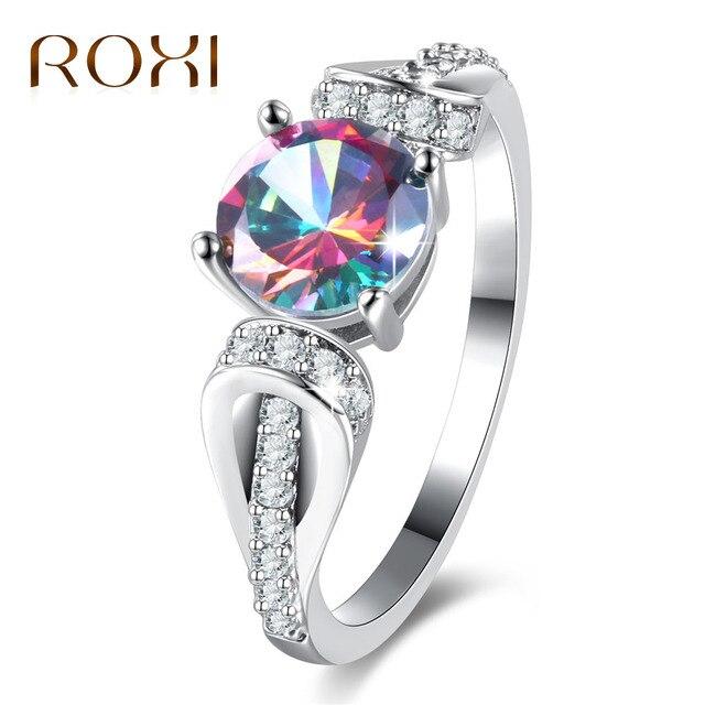 01fee3f9c2d8 Roxi boda Anillos colorido cubic zirconia plata color CZ piedra anillo  joyería para las mujeres al