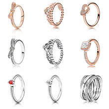 цена на 9 Style Silver Ring Charms Love Heart Crown Hollow Round Butterfly Crystal Rings For Women Jewelry