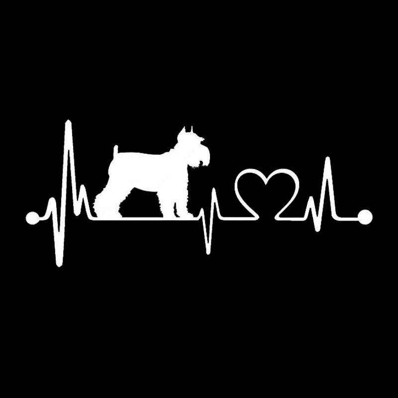 15,2*6,4 см Шнауцер сердцебиение автомобильные наклейки с собаками водостойкая виниловая наклейка автомобильный Стайлинг бампер украшение черный/серебристый S1-0730