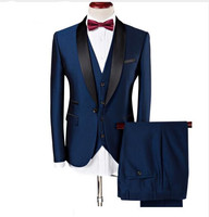 Free Shipping Three Pieces Navy Male Suits Men Wedding Suits Shawl Lapel One Button Groomsman Tuxedos