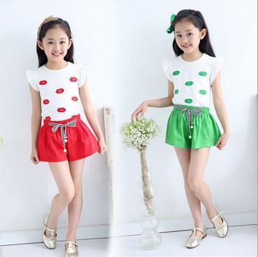 0875c023a € 15.31 |Muchachas del verano vestido de dos piezas / + shorts de dos  piezas de ropa impresión de 2 a 9 años de edad de ropa para niños en ...
