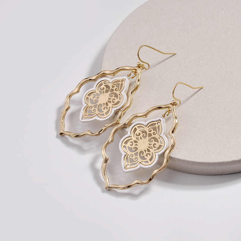 Designer Inspired Gold Filigree Moroccan Cutout Drop Earrings For Women Brand Teardrop Hollow Statement Earrings Fashion Jewelry