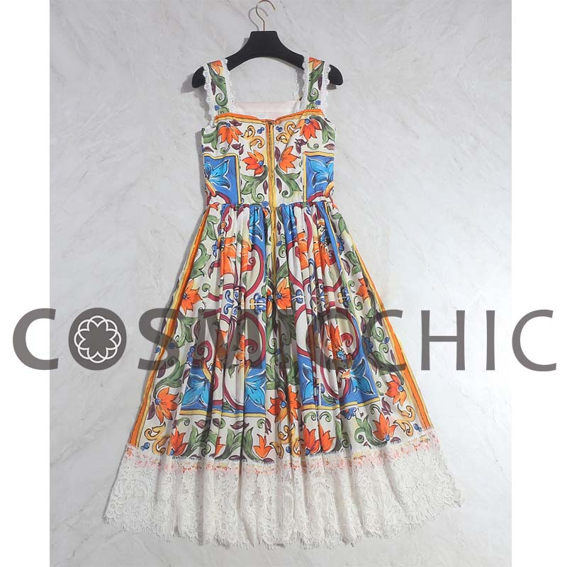 9d94b3283040 Cosmicchic Haute Couture Spaghetti Strap Dress Floral Print Elegant Lace  Dress Summer Fashion Runway Vintage Dress LY226-in Dresses from Women s  Clothing on ...