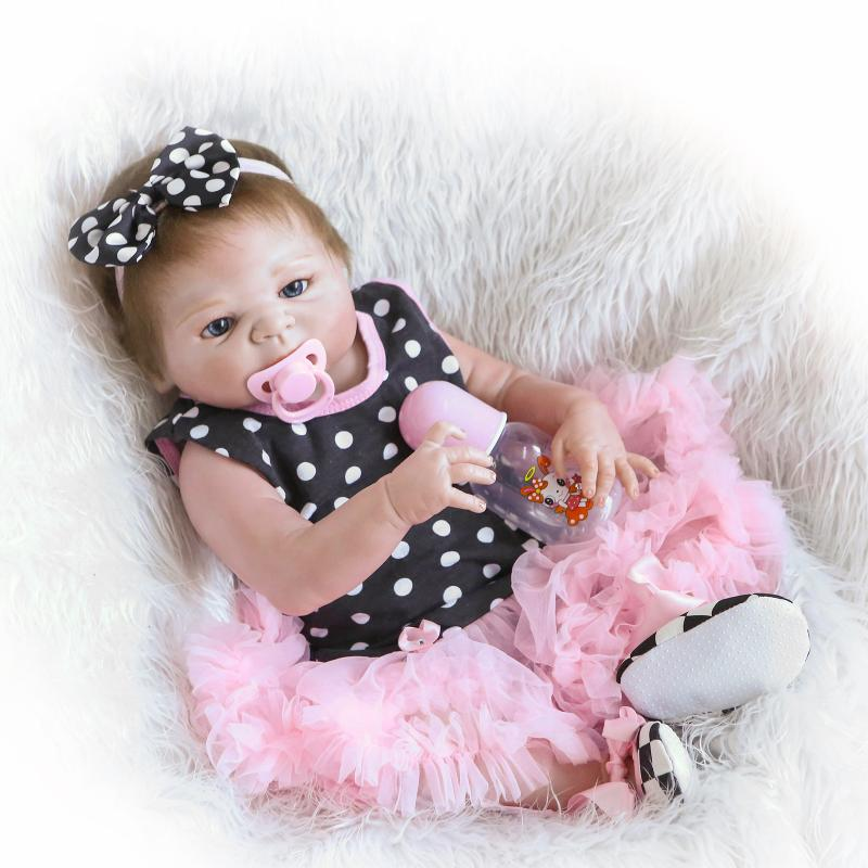 55cm Soft Silicone Reborn Dolls Baby Lifelike Girl Doll in Colorful Polk Dot Dress 22 Inch Full Vinyl Boneca Baby Reborn Doll practical c10 er11a 100l collet chuck holder 100mm extension straight shank for cnc milling lathe for er11 collet with er11a nut
