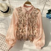 Women Long Sleeve Sequins Lighting Single Breasted Bowl Party Tops Long Sleeve Elegant Blouse Shirts D407