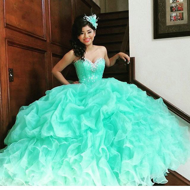 Online Shop Newest Mint Green Quinceanera Dresses Beaded Sweet 15 ...