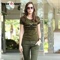 2016 camiseta Del Verano Del Estilo Mujeres de la marca camiseta anti-mosquitos Ejército Verde de la manera mujeres de la camiseta de algodón tops GS-8533A