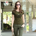 2016 t-shirt Summer Style Women brand t shirt anti-mosquito cotton fashion Army Green t shirt women tops GS-8533A