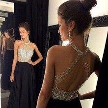 Brilliant Perlen Chiffon Abendkleid 2016 Heißer Verkauf Halfter Ärmellose Bodenlangen Abendkleid Schwarz Backless Abendkleid
