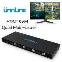 Unnlink HDMI USB KVM Quad Multi viewer FHD1080P @ 60Hz 4x1 HDMI бесшовные коммутатор 1 клавиатура Мышь Управление 4 ноутбук хоста