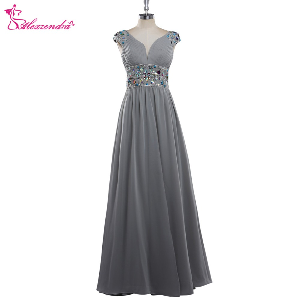Alexzendra Silver Chiffon Silver Beaded A Line Cap Sleeves   Prom     Dresses   Crystals Sweetheart Evening Gowns Party   Dress